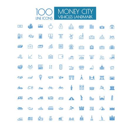 100 icônes historiques Voyage d'affaires et de transport en commun