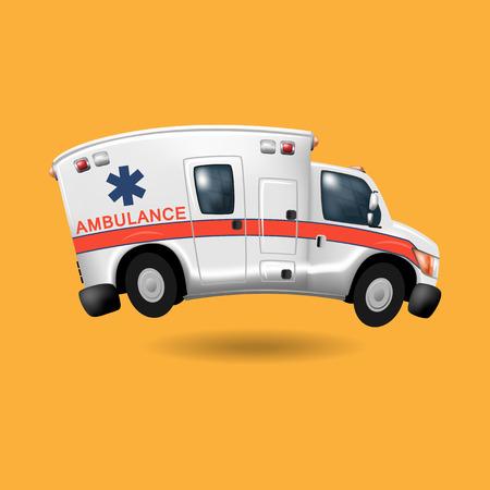 emt: ambulance speeding ,vector cartoon