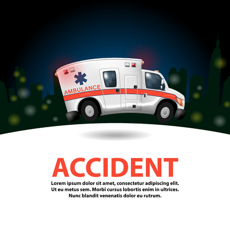 disaster relief: ambulance speeding ,vector cartoon