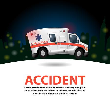 Krankenwagen überhöhte Geschwindigkeit, Vektor-Cartoon Vektorgrafik