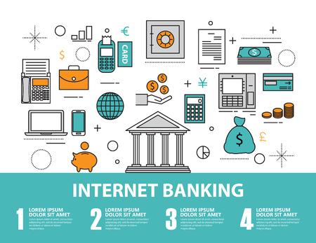 Conjunto de icono de Piso línea y concepto de diseño infográfico, documento de planificación financiera, análisis de investigación de mercado, dinero invirtiendo elementos. banca en línea Ilustración de vector