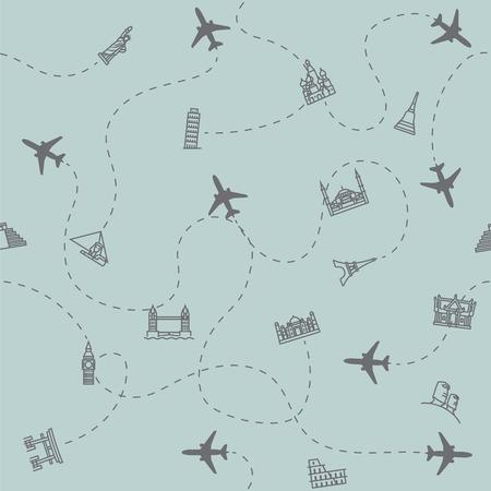 airplane travel: Airplane Travel and tourism locations Landmark background, card print, seamless. Illustration