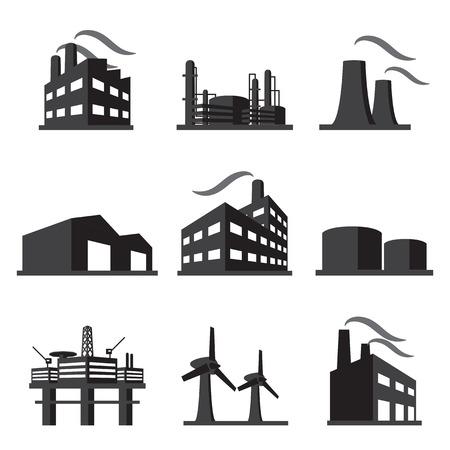 edificio industrial: icono de la fábrica juego de construcción industrial Vectores