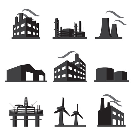piping: Industrial building factory icon set Illustration