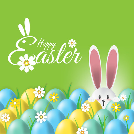 animal ear: Happy Easter,Easter greeting card with colorful eggs and bunny on green background Illustration
