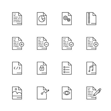 document icon: Outline Icon Set of Paper icon, Document icon Design , for website and mobile app.