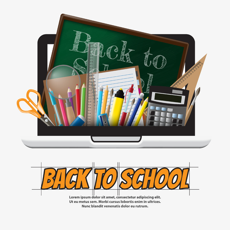 school computer: Back to school School supplies, stationery and Computer illustration
