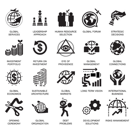 グローバル ビジネス サービス、アイコン、シンボル  イラスト・ベクター素材