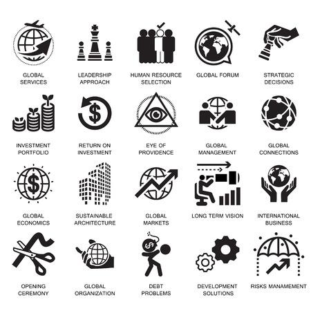 services d'affaires mondiaux, icône et symbole