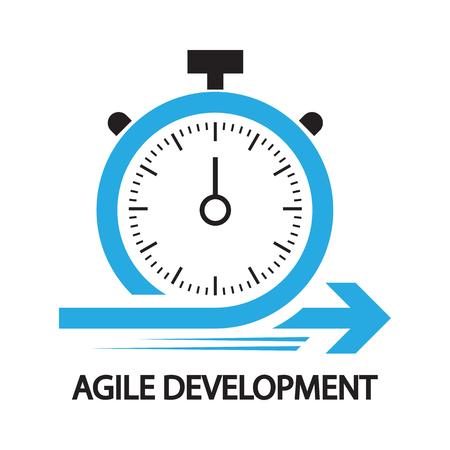 アジャイル開発、ストップウォッチの概念、アイコン、シンボル