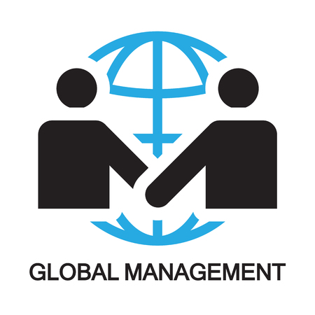 peace treaty: global management ,icon and symbol