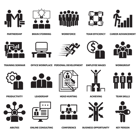 corporate management and business leader training icon and symbol