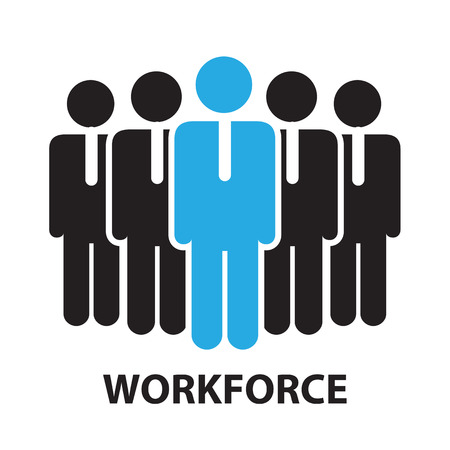 office force: work force for business concept , icon and symbol Illustration