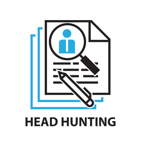 job qualifications: head hunting for business concept , icon and symbol Illustration