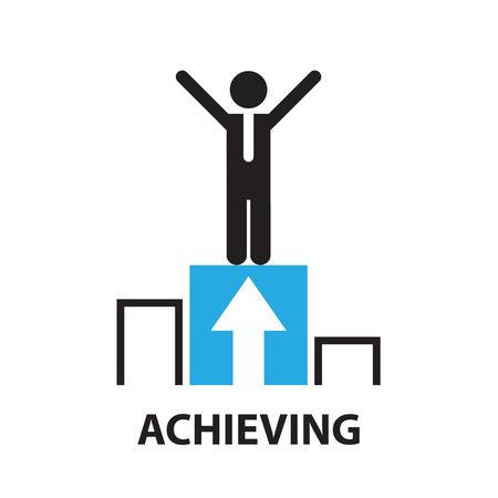 achieving: achieving for business concept , icon and symbol