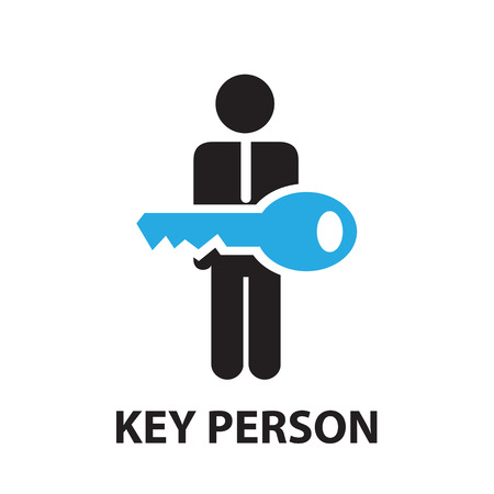 locked the door: key person ,icon and symbol