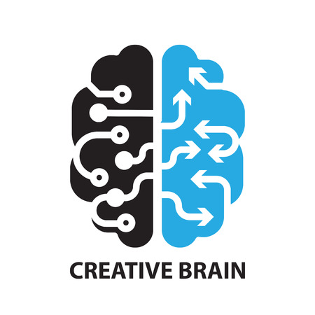 right on: creative brain ,icon and symbol