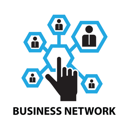 human touch: business network concept  icon and symbol