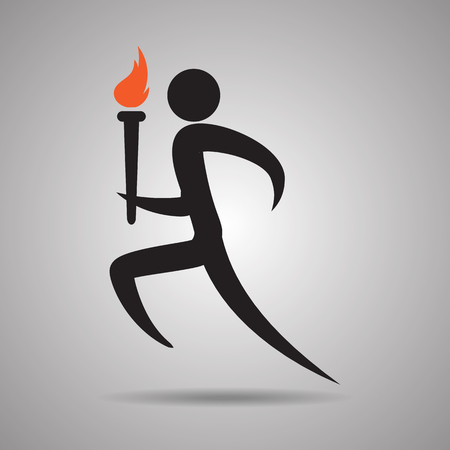 Torch Relay ,Male runner with torch icon and symbol
