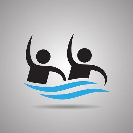 natación sincronizada: natación sincronizada. icono de equipo de deporte y el símbolo Vectores