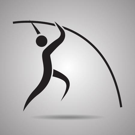 pole vault: Pole vault player sport icon and symbol