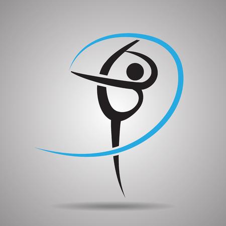 gimnasia aerobica: La gimnasia rítmica icono del deporte y el símbolo Vectores