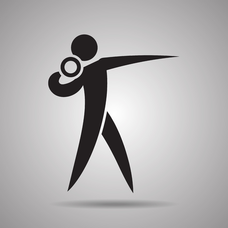 lanzamiento de bala: Lanzamiento de peso icono del deporte del jugador y s�mbolo Vectores