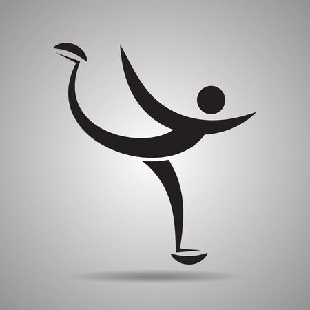 skating on thin ice: ice skating  sport icon and symbol
