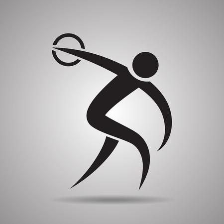 lanzamiento de disco: Icono de disco tiro deportivo y el símbolo Vectores