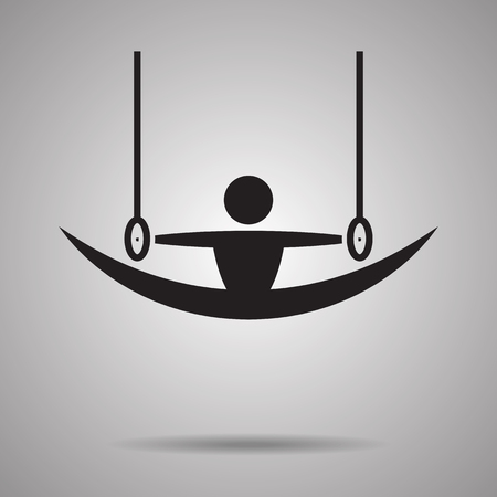 con: Gymnastics rings sport con and symbol Illustration