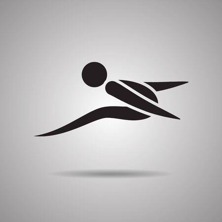 symbol sport: Weitsprung-Spieler Sport Symbole und Zeichen
