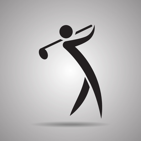 golf player: Golf player sport icon and symbol