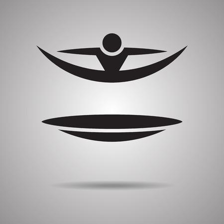 symbol sport: Springen Trampolin Sport Symbole und Zeichen