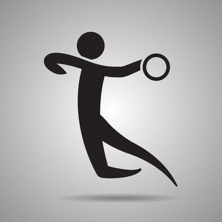 terrain de handball: joueur de handball icône sport et symbole Illustration