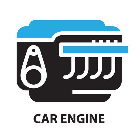 opposed: Car Engine ,icon and symbol Illustration