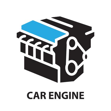 Motore di automobile, icona e simbolo