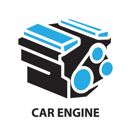 opposed: Car Engine ,icon and symbol Illustration