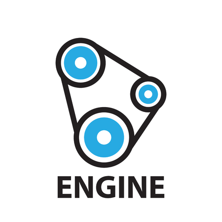 belt car and gear Engine ,icon and symbol