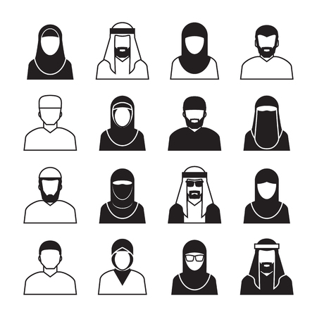 middle eastern: Middle Eastern People ,vector Icons and symbol Illustration