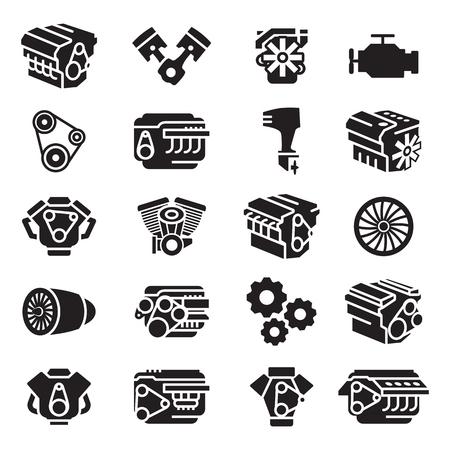 Silniki samochodowe, silniki motocyklowe, silniki samolotowe, silniki łodzi, ikona i symbol Ilustracje wektorowe