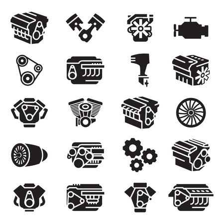 Car engines, motorcycle engines, aircraft engines, boat engines,icon and symbol