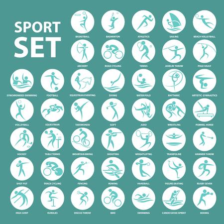 waterpolo: conjunto de iconos jugador del deporte y el símbolo Vectores