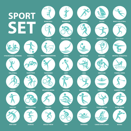 Joueur le sport ensemble icône et symbole Banque d'images - 60218900