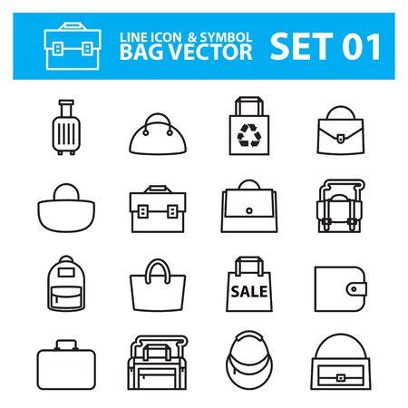 Various kind of bag icons Illustration