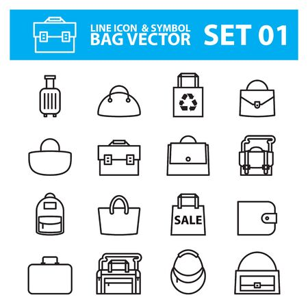 Various kind of bag icons Vectores