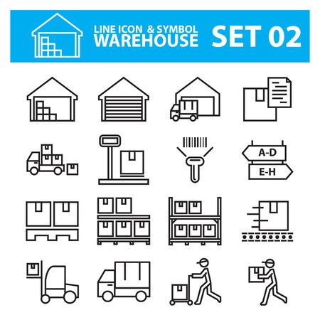 warehouse line icon set