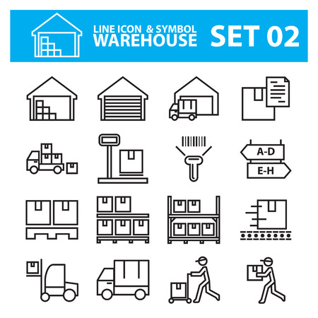 warehouse line icon set