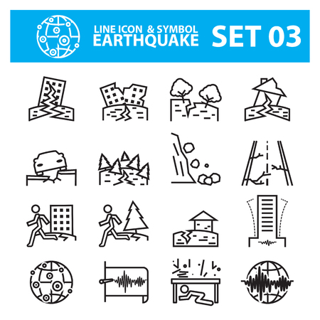 disaster preparedness: Earthquake and geology  line icon set Illustration