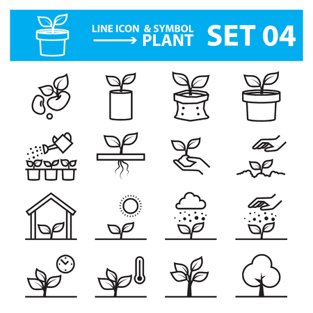 plant line icon set  イラスト・ベクター素材