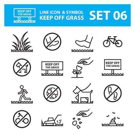 sedge: grass line icons set keep off the grass